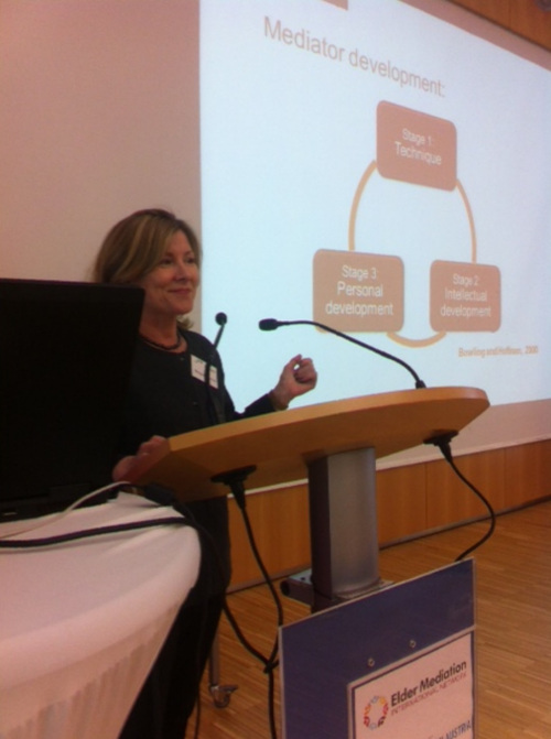 Margaret Bouchier presenting at the Elder Mediation World Summit in Linz, Austria in April 2016